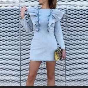 Zara Ruffle denim dress
